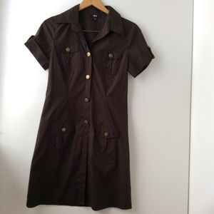BCX Shirt dress brown with short sleeves